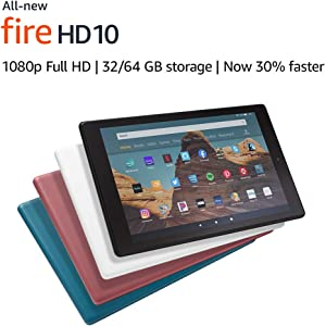 """Certified Refurbished Fire HD 10 Tablet (10.1"""" 1080p full HD display, 32 GB) – White"""