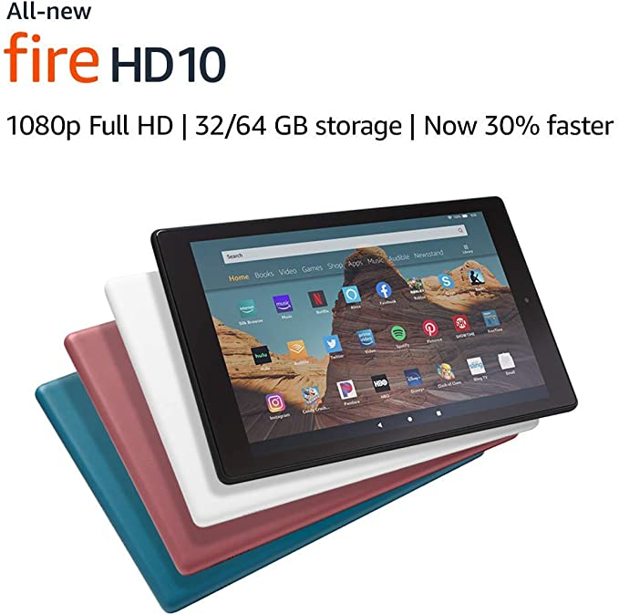 """Certified Refurbished Fire HD 10 Tablet (10.1"""" 1080p full HD display, 32 GB) – White   Amazon"""