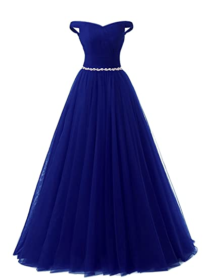 Amazon.com: CutieTell Off Shoulder Tulle Prom Dress Formal Evening Ball Gown US6 Royal Blue: Clothing