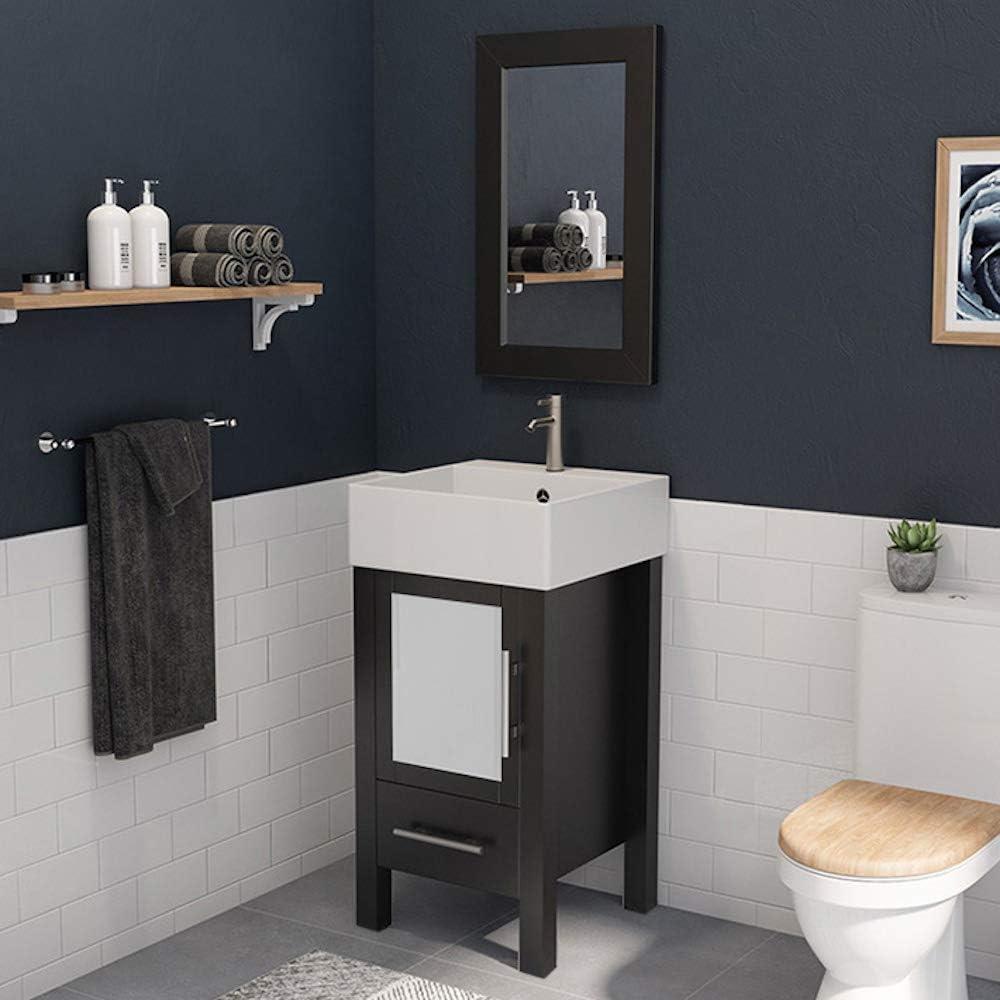 18 Inch Espresso Wood Porcelain Bathroom Vanity Set Stone