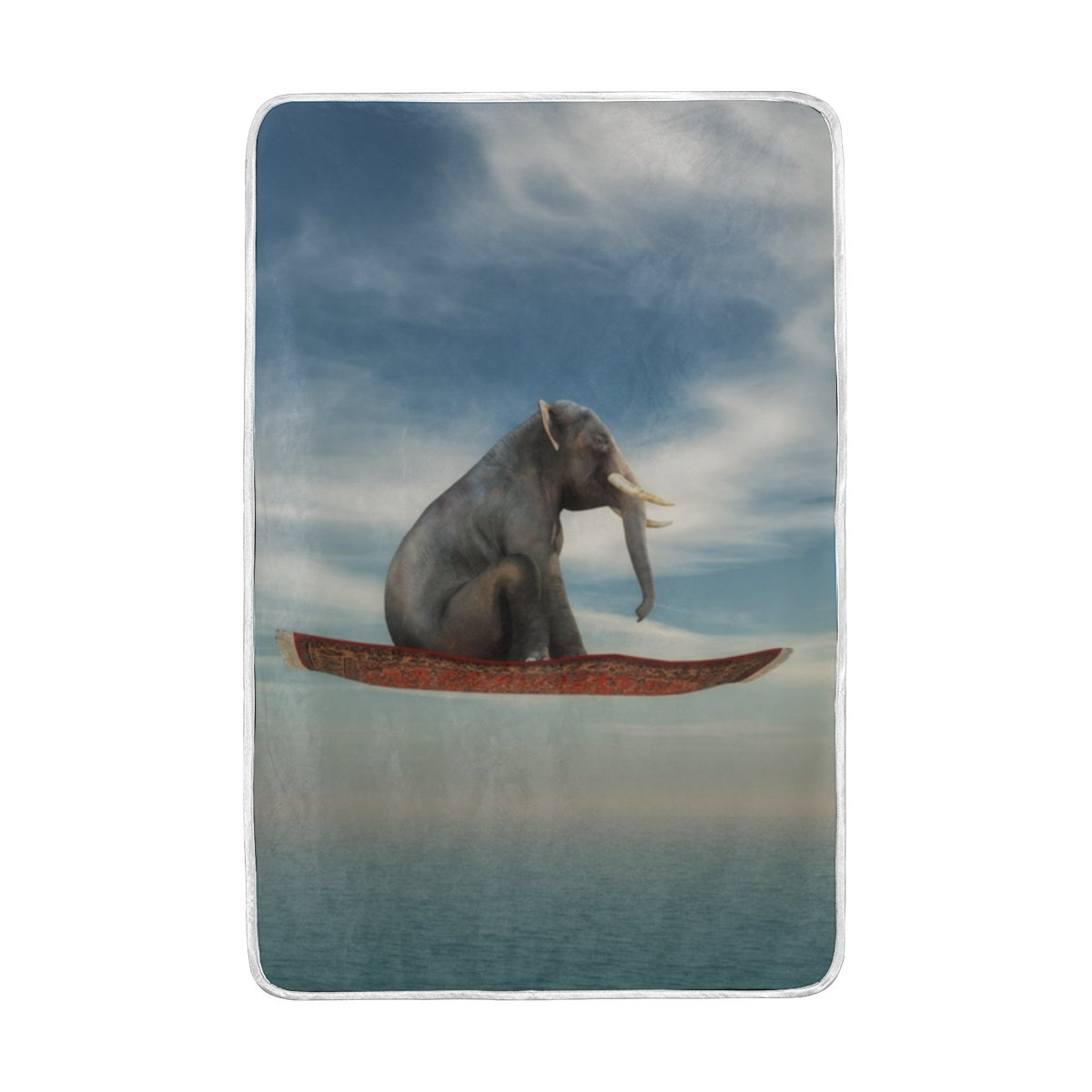 Vantaso Soft Blankets Throw India Elephant On Flying Carpet for Kids Girls Boys Bedroom Sofa Couch Living Room 60 x 90 inch