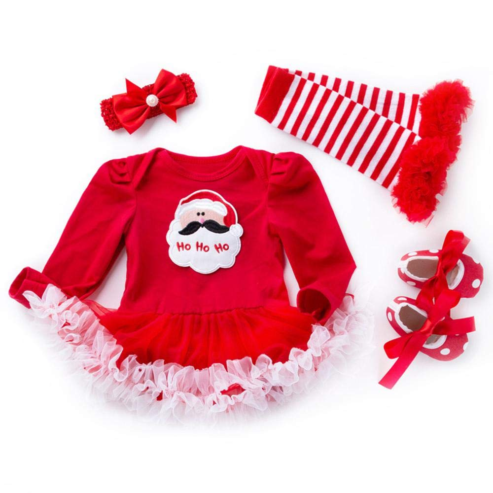 UMIWE Babbo Natale Pagliaccetti Bambino Ragazze Natale Abiti Neonato Bambino in Rete Bianco Verde Colori con Fascia Pausa Scaldamuscoli Scarpe