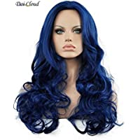 Dai Cloud Hot Women's Royal Blue Long Body Wave Cosplay Part No Bangs Costume Hair Replacement Full Wig Halloween Wigs
