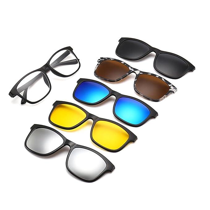 f1fca3f951 Memoryee Unisex Retro 5Pcs Gafas de sol polarizadas desmontables con clip  magnšŠtico TR Frames Ultra Light Set 2201: Amazon.es: Ropa y accesorios