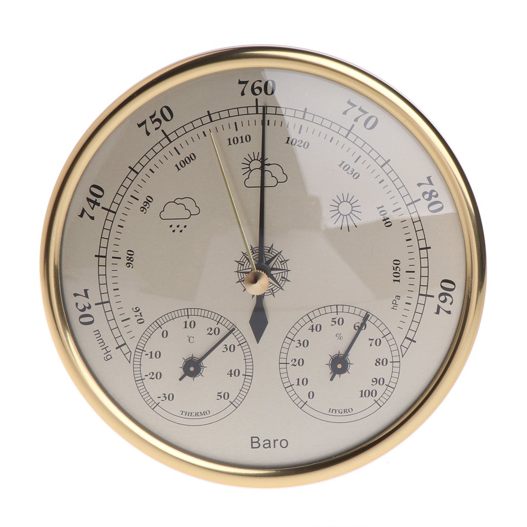 Padory Household Weather Station Barometer Thermometer Hygrometer Wall Mounted,Gold by Padory