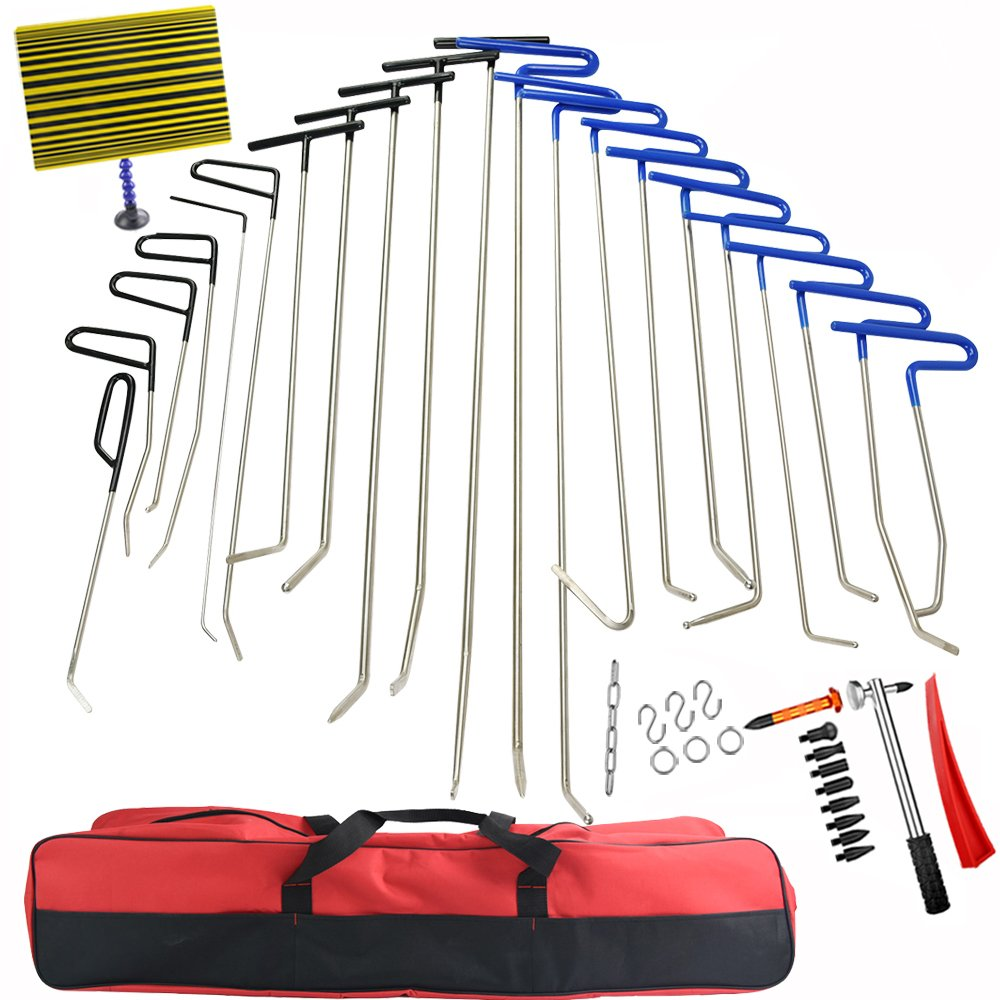 42Pcs PDR Rods Dent Remover Tools Paintless Dent Repair Tools PDR Tools Kit Hail Damage Removal Car Ding Dent Repair Rod Hook PDR Line Board Paintless Hail Removal Dent Puller Tool Dent Remover Kit