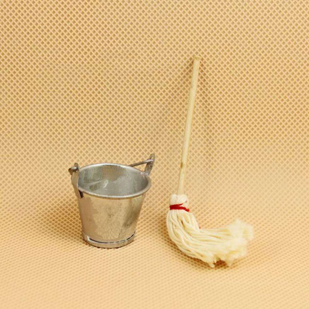 pittospwer Set di Secchiello per Scopa in Miniatura 1//12 Accessori per Case delle Bambole Giocattolo Fai Finta di Giocare Regali