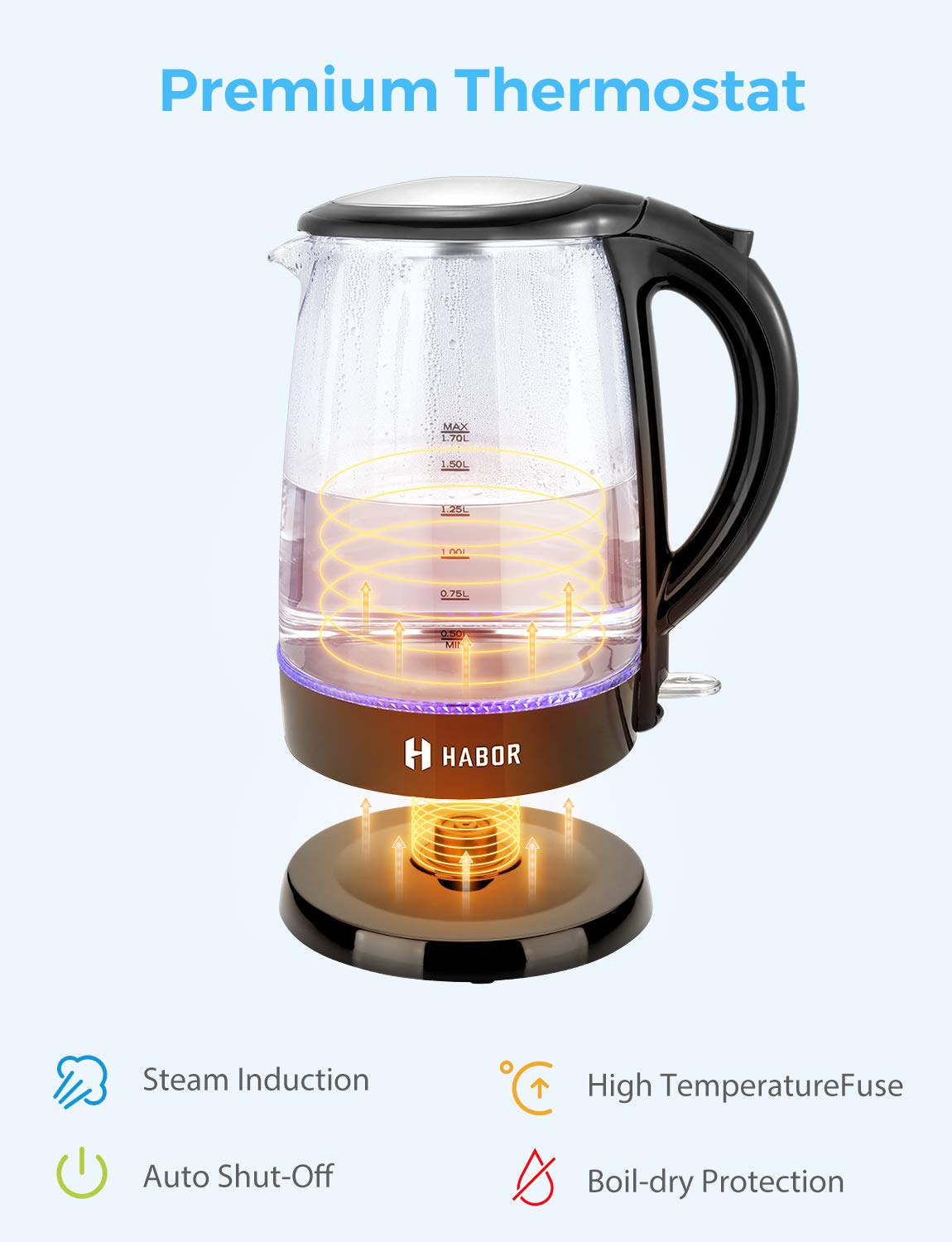 Habor Electric kettle, Water Boiler 1500W Fast Heating Tea Pot, 1.8 Quart (1.7 L) Blue LED Lights Bright Glass Body, Auto Shut-Off Boil-Dry Protection Stainless Steel Inner Lip by Habor (Image #6)