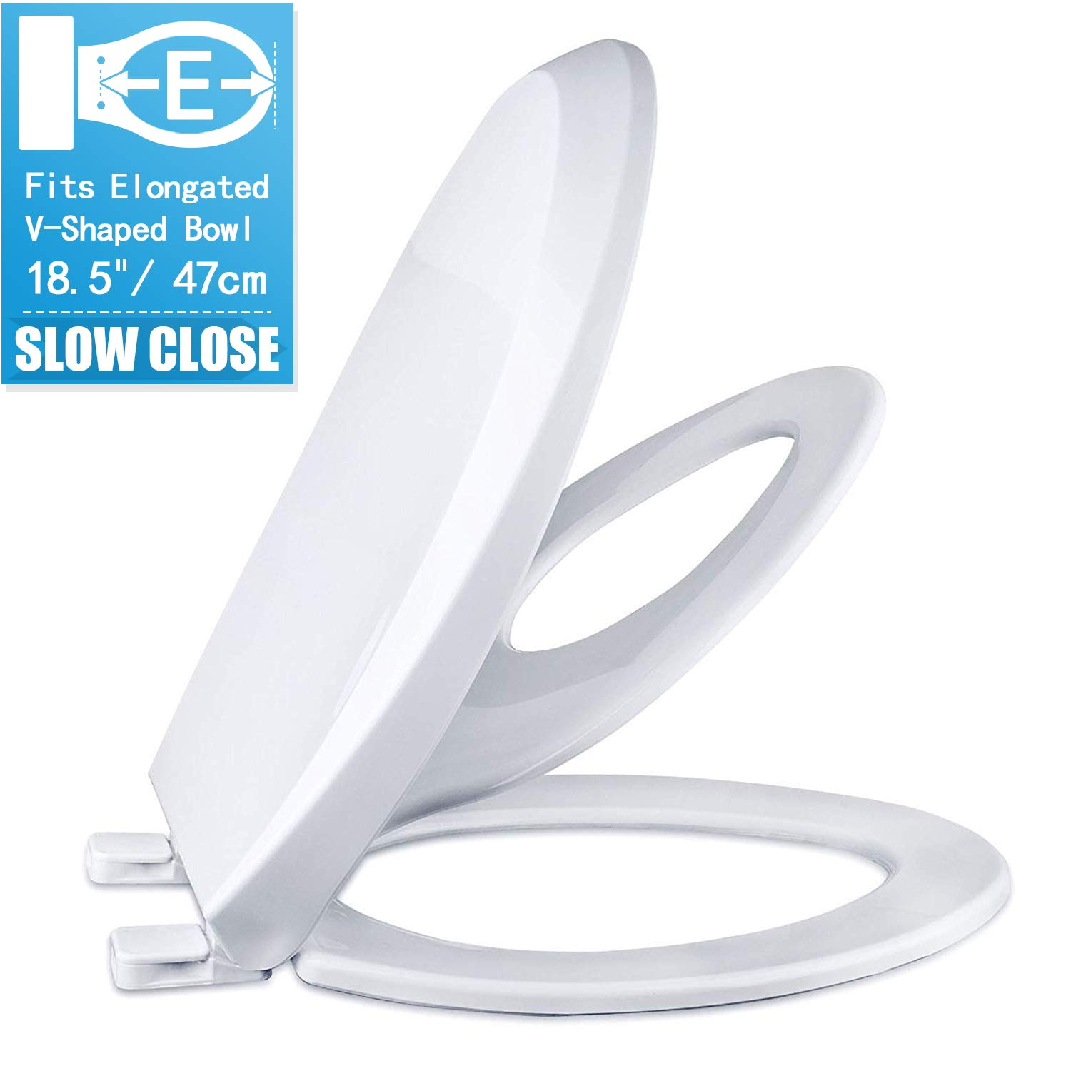CROWNSTARQI Slow Close Elongated Bowl White Toilet Seat for Adult/Toddler Magnetic Stay Tight No Slam by CROWNSTARQI