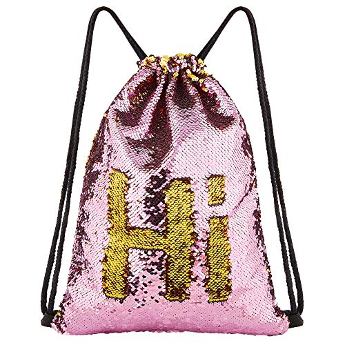 ICOSY Mermaid Sequin Bag Magic Reversible Sequin Drawstring Backpack Glitter Dance Bags Flip Sequins Backpack Bags Shining Sports Backpack for Kids Adults (Gold/Pink, 13.8