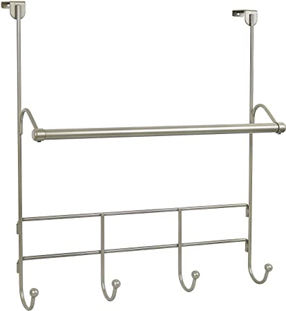 Charmant Image Unavailable. Image Not Available For. Color: Greenco Over The Door  Towel Bar With 4 Hooks Satin Nickel ...