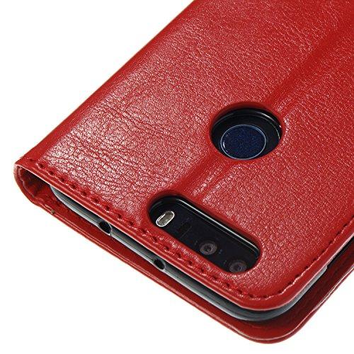Para Huawei Honor 8 funda, (negro) Narcisos caja del teléfono de la PU patrón en relieve ,Función de Soporte Billetera con Tapa para Tarjetas correa de mano soporte para teléfono big Red