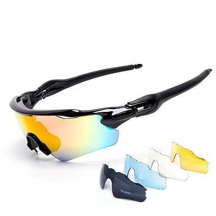 7cb92aca4898 Cuzaekii 5 Lenses Polarized Cycling Glasses UV400 Outdoor Sports Sunglasses  for Men Women (Black)