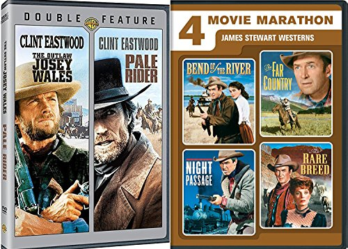 No Name Clint Pale Rider & The Outlaw Josey Wales Clint Eastwood icon 2 Pack & James Stewart icon Western 4 Pack Far Country / Bend of the River / Rare Breed / Night Passage movies DVD Set