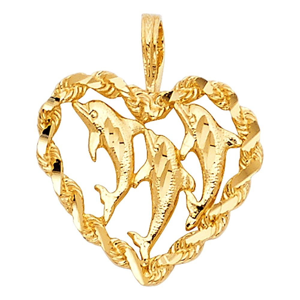 14k Yellow Gold Heart with Dolphin Pendant Charm