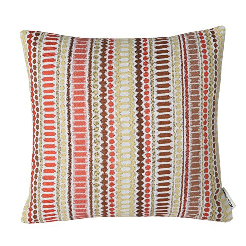 Mika Home Jacquard Colorful Stripes Accent Throw Pillow Case Geometric