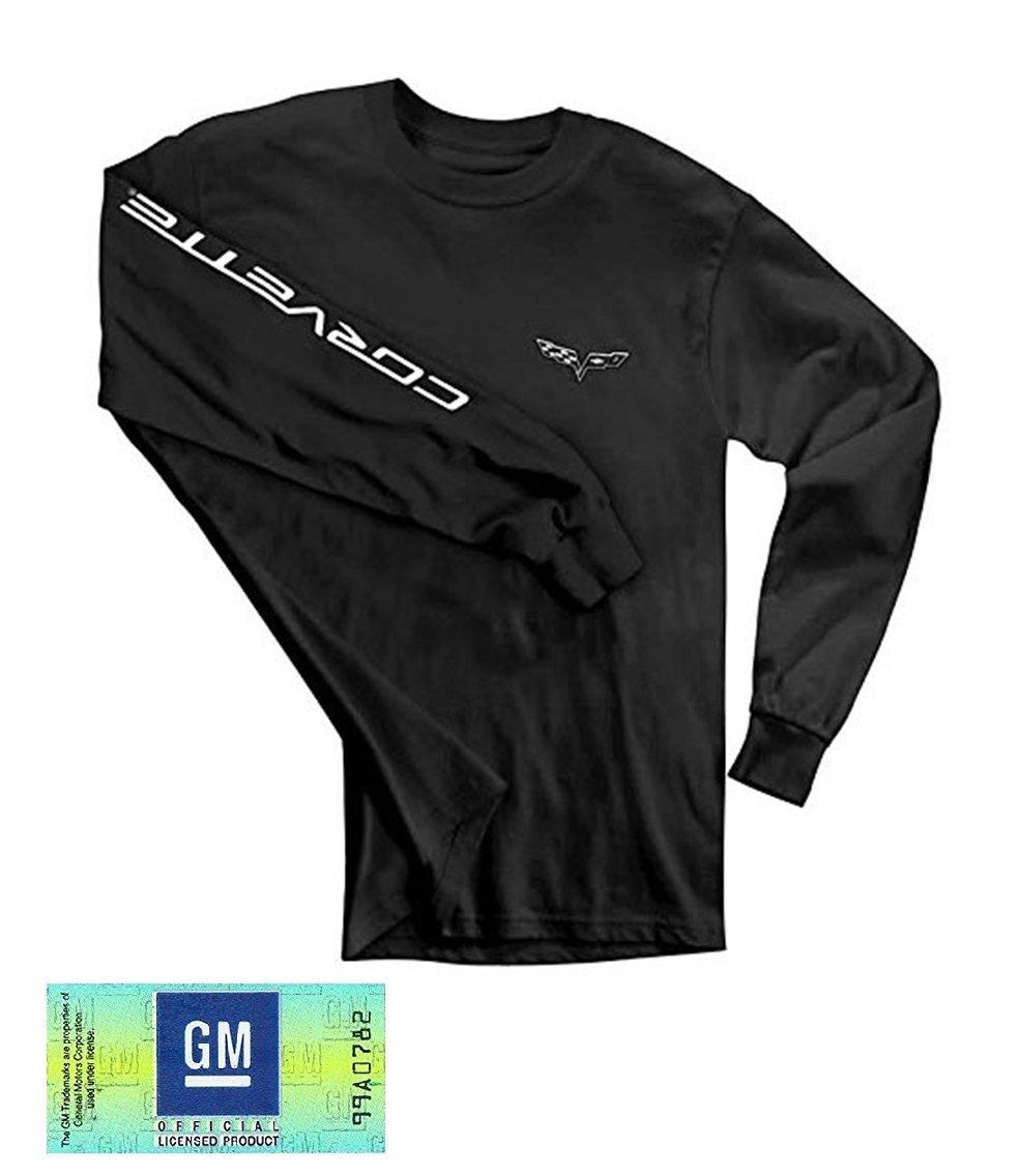 C6 Logo w//Corvette Script on Sleeve Burston Corvette T-Shirt XX-Large, Black