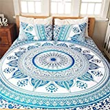 "Blue Ombre Mandala Duvet Cover With Pillow Cover , Blue Doona Cover ,Tapestry Doona Cover , Indian Cotton Quilt Cover Urban Blanket Cover Queen Size ( 92""x90"" ) With Pillow Cover By MONIKA ENTERPRISES"