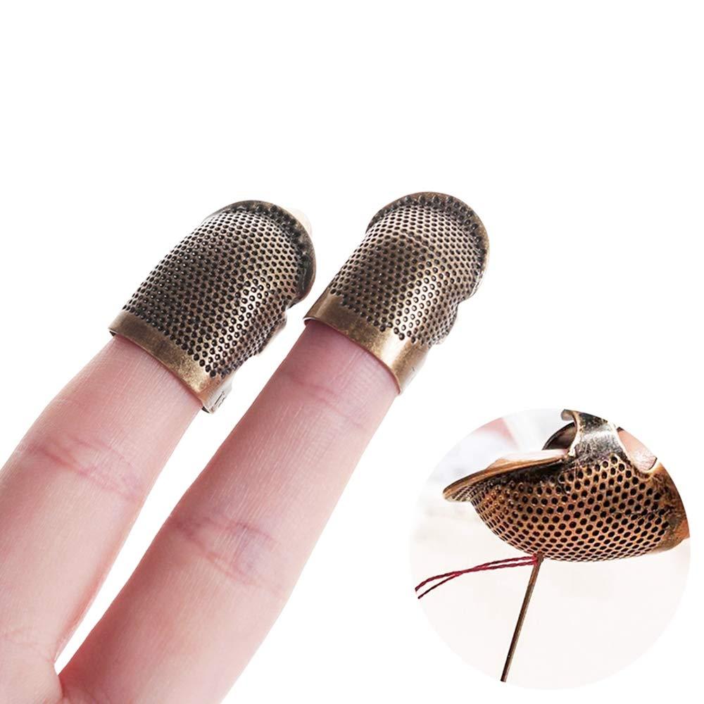 Adjustable Finger Metal Shield Protector Hand Needlework DIY Sewing Tools 2 Pieces Retro Sewing Thimble Finger Protector Small+Medium