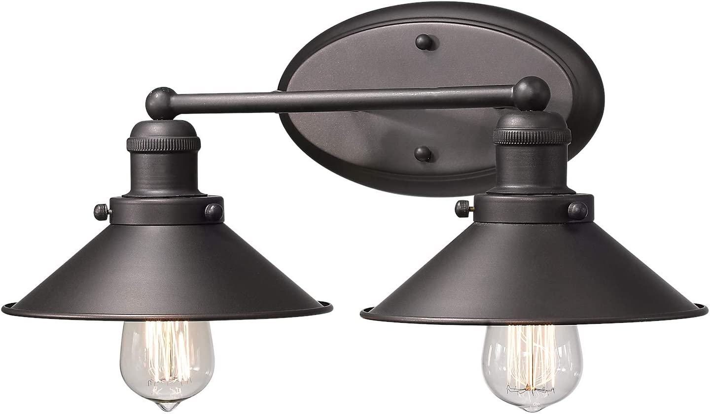 Zeyu 2-Light Bathroom Wall Light Fixtures, Industrial Vanity Lights in Oil Rubbed Bronze Finish with Metal Shade, 102-2W ORB