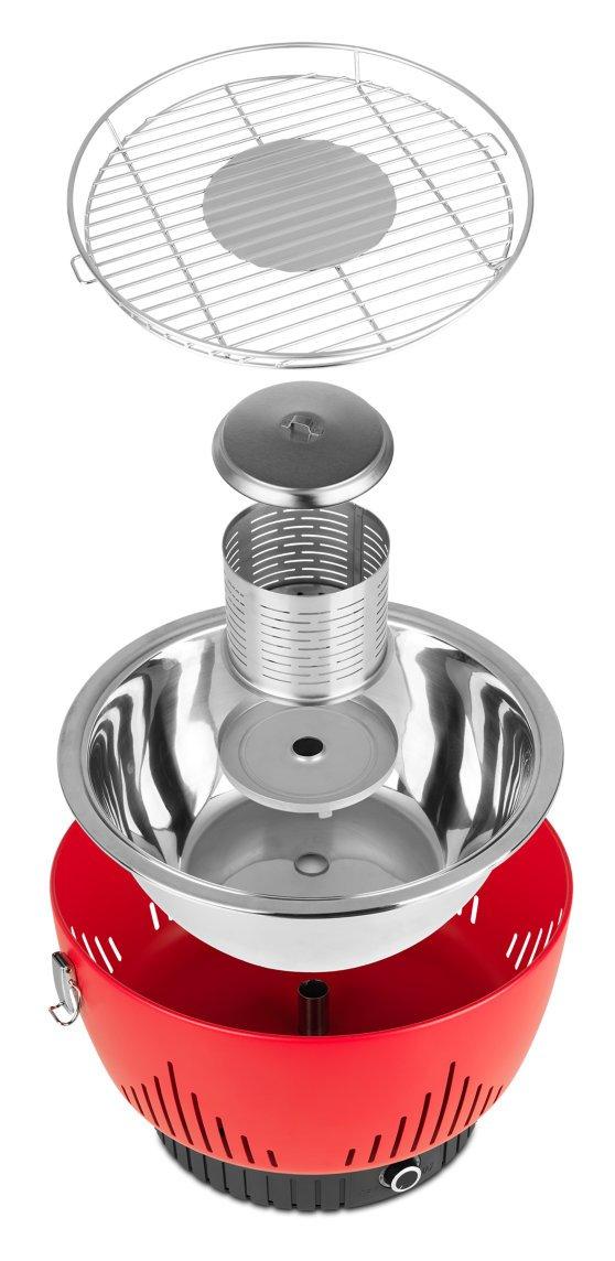 Medion MD 17700 - Barbacoa Grill con ventilación activa, baja emisión de humo, inicio rápido, diseño compacto, color rojo: Amazon.es: Hogar