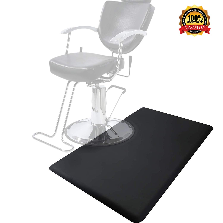 3' x 5' Salon & Barber Shop Chair Anti-Fatigue Floor Mat for Hair Stylist Rectangle 1/2'' Thick Black