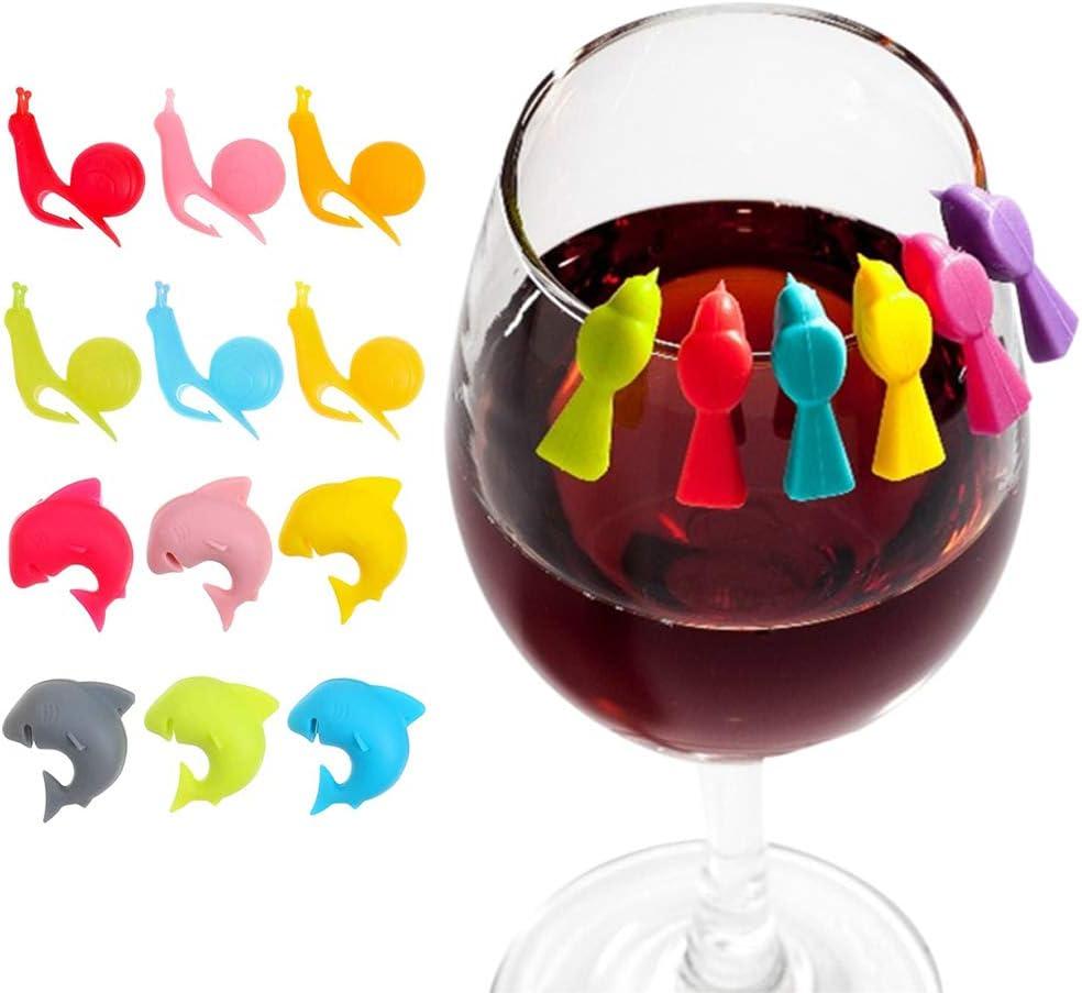 Teebeutel Halter Wiederverwendbare Glasmarkierer aus Silikon Silikon S/ü/ßer Teebeutel Halter f/ür Tassen und Party Weinglas Marker 3 Formen MOPOIN Glas Markierung 18St/ück