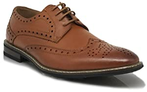 Conrad2 New Men's Classic Italy Modern Oxford Wingtip Lace Up Dress Shoes (Brown)