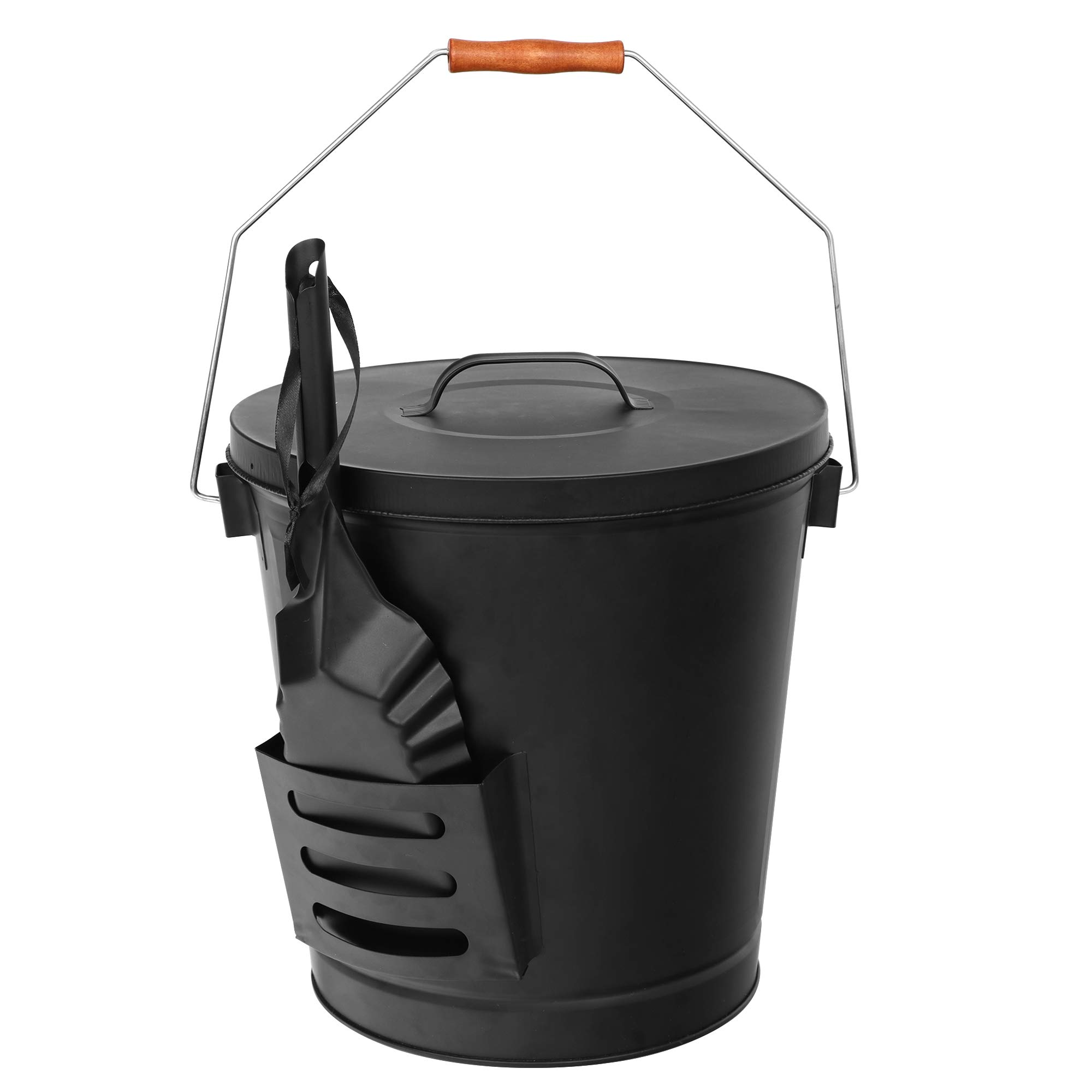 F2C 5.15 Gallon Ash Bucket with Lid and Shovel Galvanized Iron Ash Pail for Fireplace, Fire Pits, Wood Burning Stoves by F2C