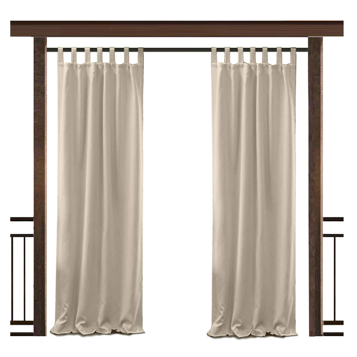 TWOPAGES Outdoor Waterproof Curtain Beige Tab Top Drape, 50'' W x 72'' L Front Porch Pergola Cabana Covered Patio Gazebo Dock Beach Home (1 panel)