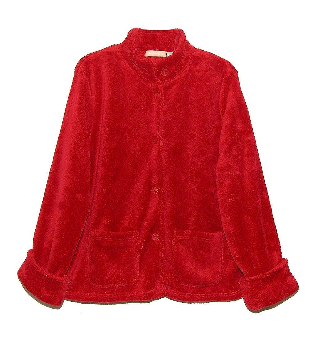 La Cera Women's Fleece Bed Jacket Plus Size 8812XL-1X-Red-$P