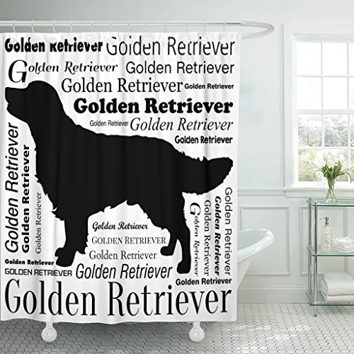 Retriever Silhouette Golden - TOMPOP Shower Curtain Brown Adorable Golden Retriever Silhouette Yellow Animal Attractive Beautiful Waterproof Polyester Fabric 72 x 72 Inches Set with Hooks