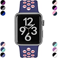 Hamile Correa para iWatch 38mm 42mm 40mm 44mm, Doble Color Pulsera de Repuesto de Silicona Suave Transpirable Correa para iWatch Series 5/4/3/2/1, 11 Color