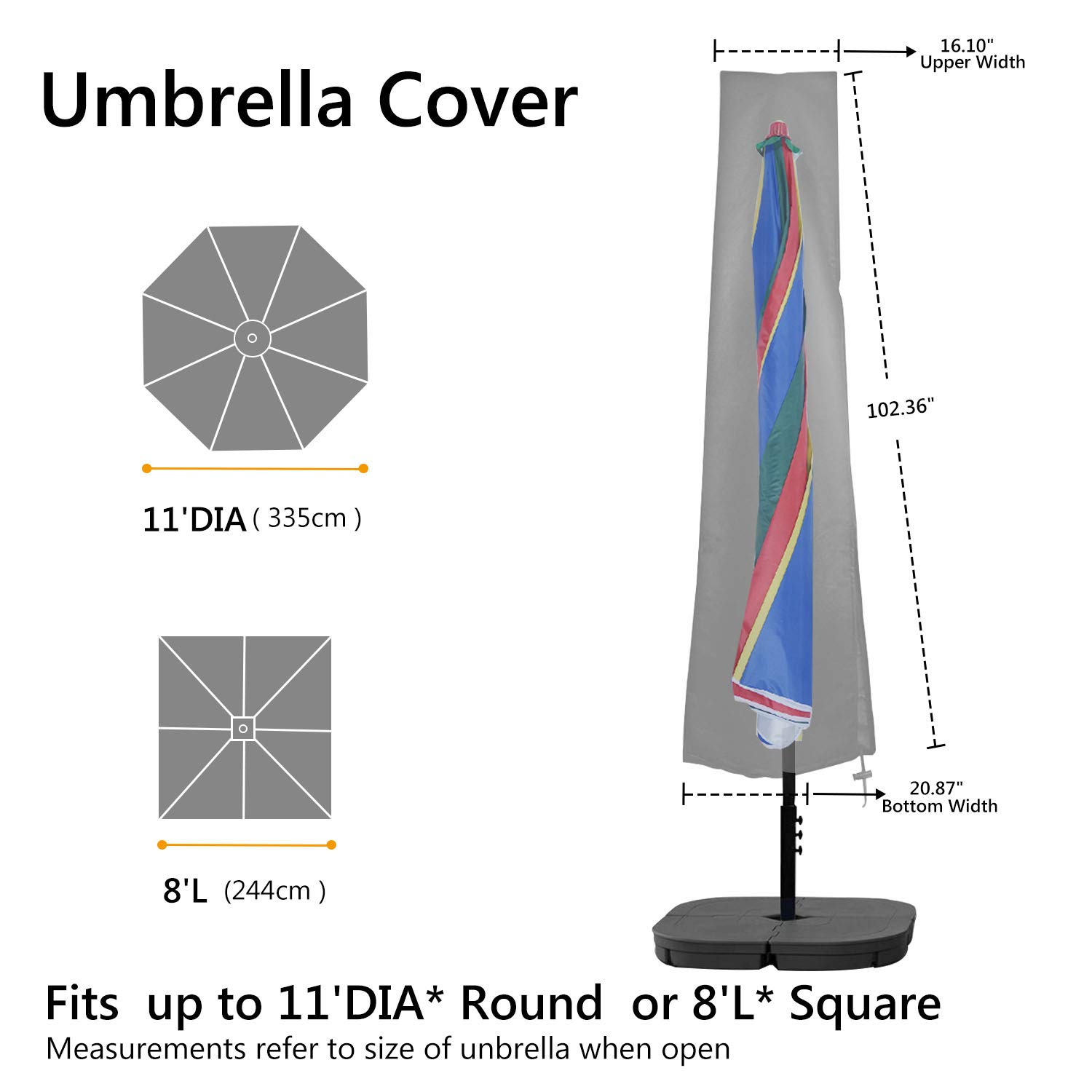 RATEL Parasol Cover Patio Umbrella Cover Cantilever Umbrella Cover for 9ft to 11ft Outdoor Umbrellas Cover with Zipper and Waterproof Oxford Fabric Black
