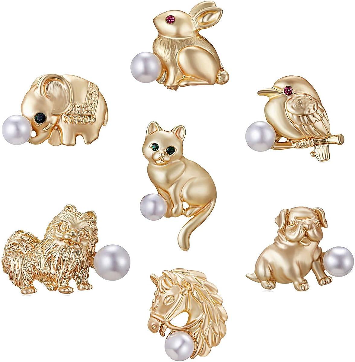 Womens Printing Pattern Horse Bird Cat Dog Animals Pins Brooch Fashion Jewellery