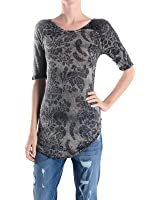 T Party TSPR4730Charcoal Printed Lace Back Tee