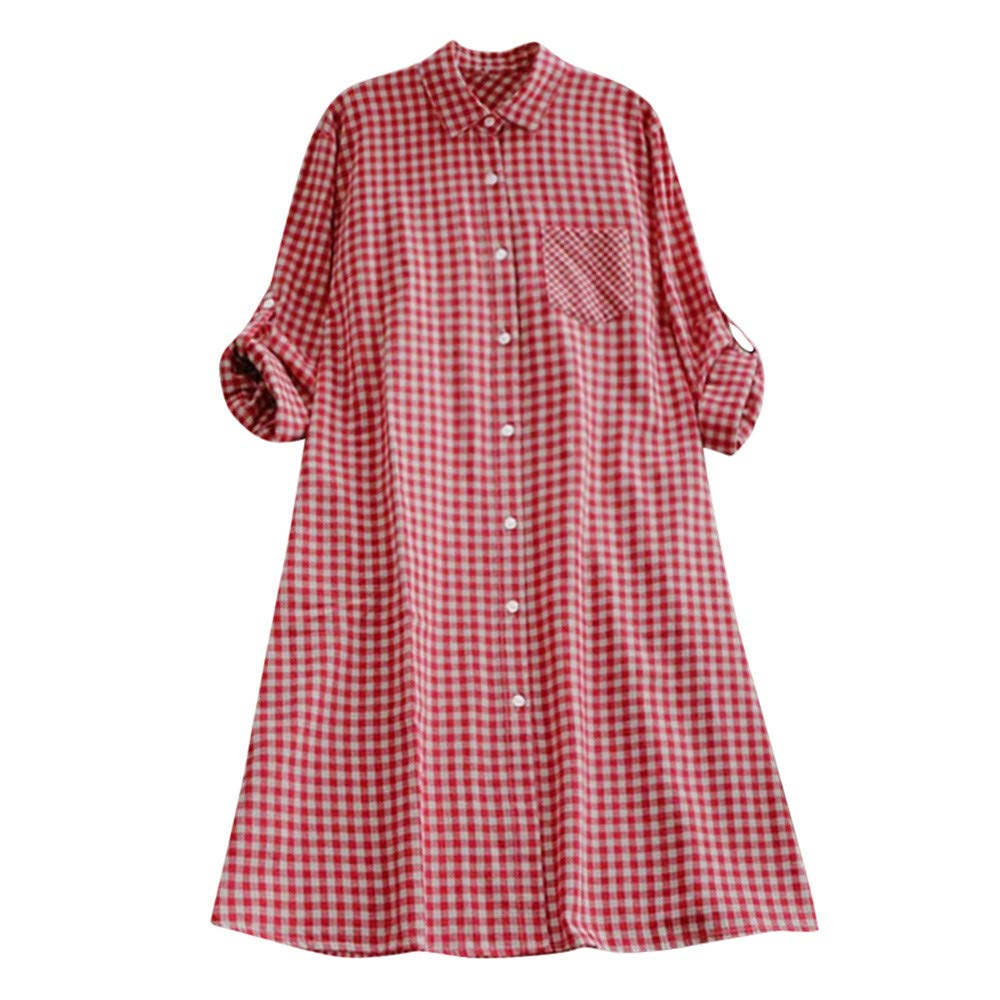Clearance ShenPr Women's Casual Plaid Tunic Button Down Roll-up Long Sleeve Pocket Shirt Dress