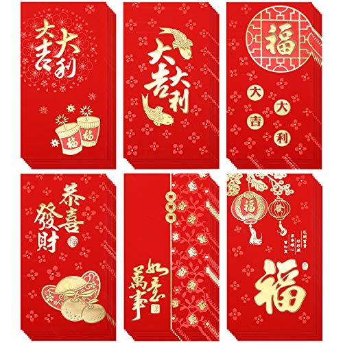 36 Pieces 2020 Red Envelopes Mouse Year Lucky Money Pocket Chinese Elements Red Packet New Year Hong Bao, 6 Styles (6.6 x 3.5 Inches) (Christmas Cards Chinese)