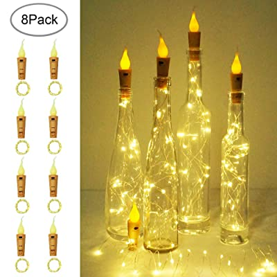 LoveNite Wine Bottle Lights, 8 Pack 20 LED Flameless Candle Cork Bottle String Light Battery Operated Silver Wire Mini Fairy Lights for DIY, Party, Christmas, Wedding Decor (Candle-Warm White) : Garden & Outdoor