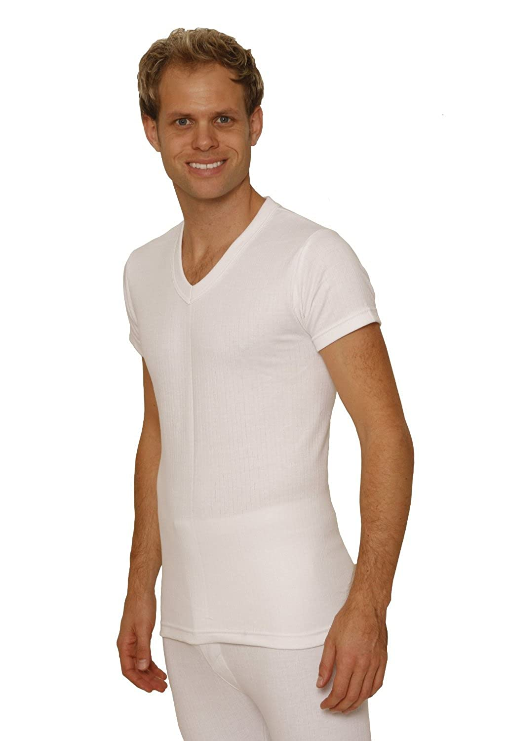 6 PACK: OCTAVE® Mens Thermal Underwear Short Sleeve 'V'-Neck T-Shirt / Vest / Top