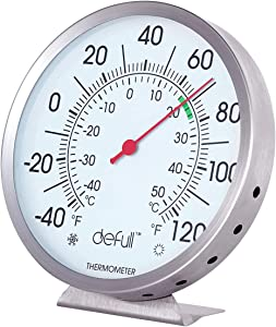 defull 5 inch Indoor Outdoor Thermometer Stainless Steel Wall Thermometer High Precision Weather Dial Thermometer with Mounting Bracket for Patio, Pool, Kitchen, Garden, Wall and Room Decorative
