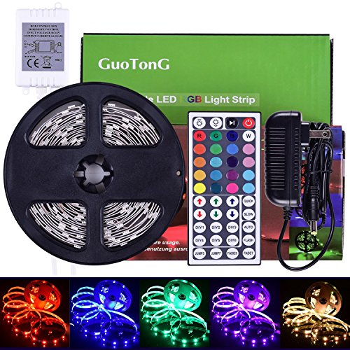 GuoTonG 16.4ft/5m LED Strip Light Kit, 150 Units RGB 5050 Leds, Color Changing, Non-Waterproof 12V DC Light Strips,44 Key IR Remote Controller with Power Supply For Christmas Holiday Home Kitchen Car by GuoTonG (Image #7)