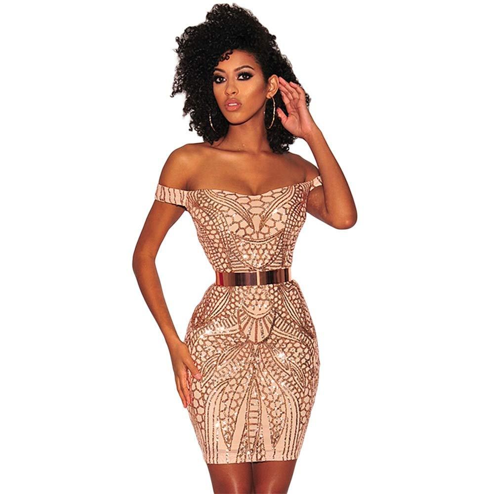 Beige Women Sparkling Sequin Evening Dress Off Shoulder Prom Dress (color   Beige, Size   M)