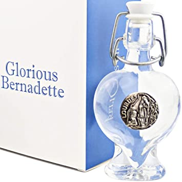 881f5fe91a71 Glorious Bernadette Pack - Heart Shape Glass Bottle Filled with 45ml  (1.52Oz) of Holy Water from the Grotto of Lourdes + Authentic from Lourdes  Tag + ...