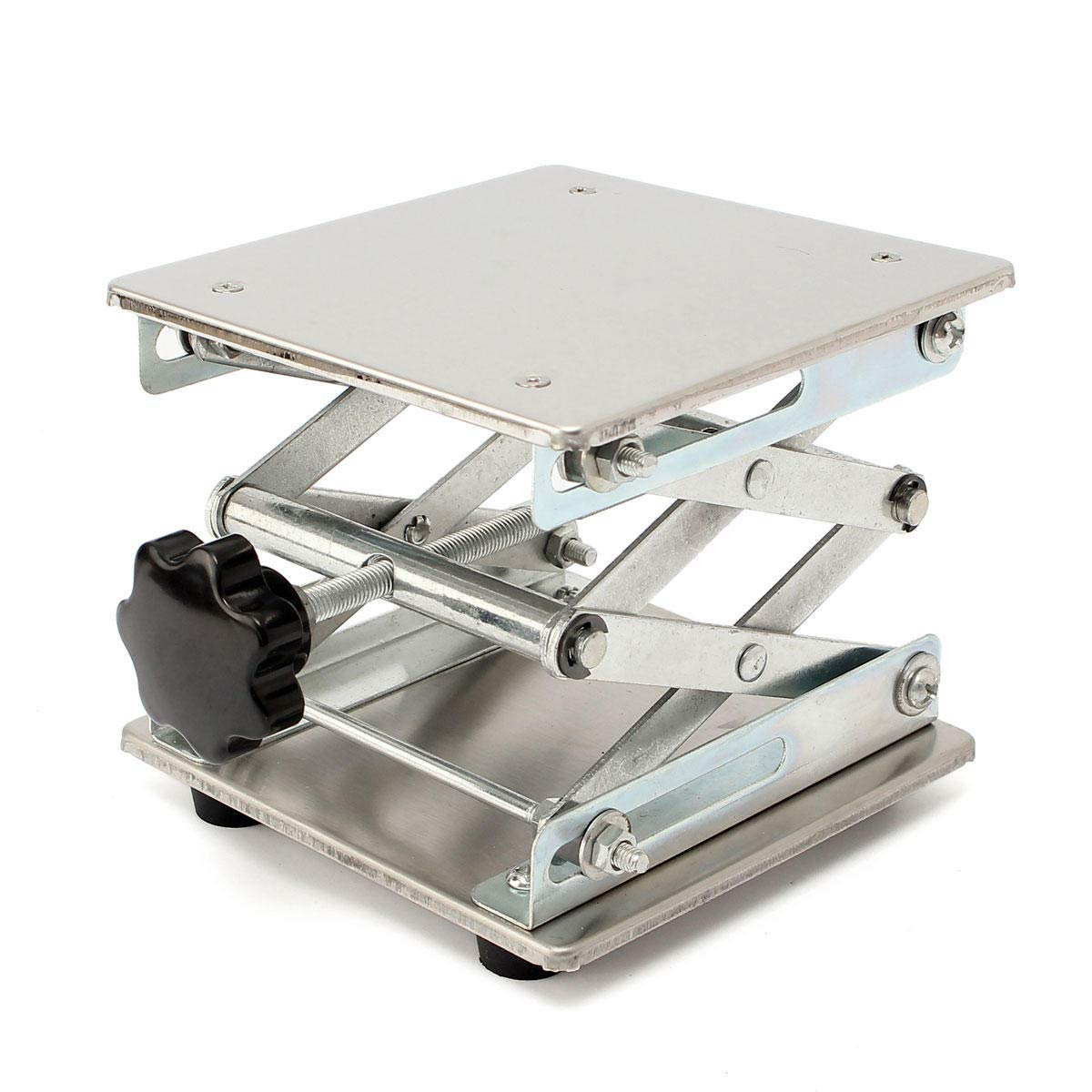 5.9 x 5.9'' Stainless Steel Lifting Platform Lab Stand Lift Riser Lifter Scissor Rack 150x150x250mm