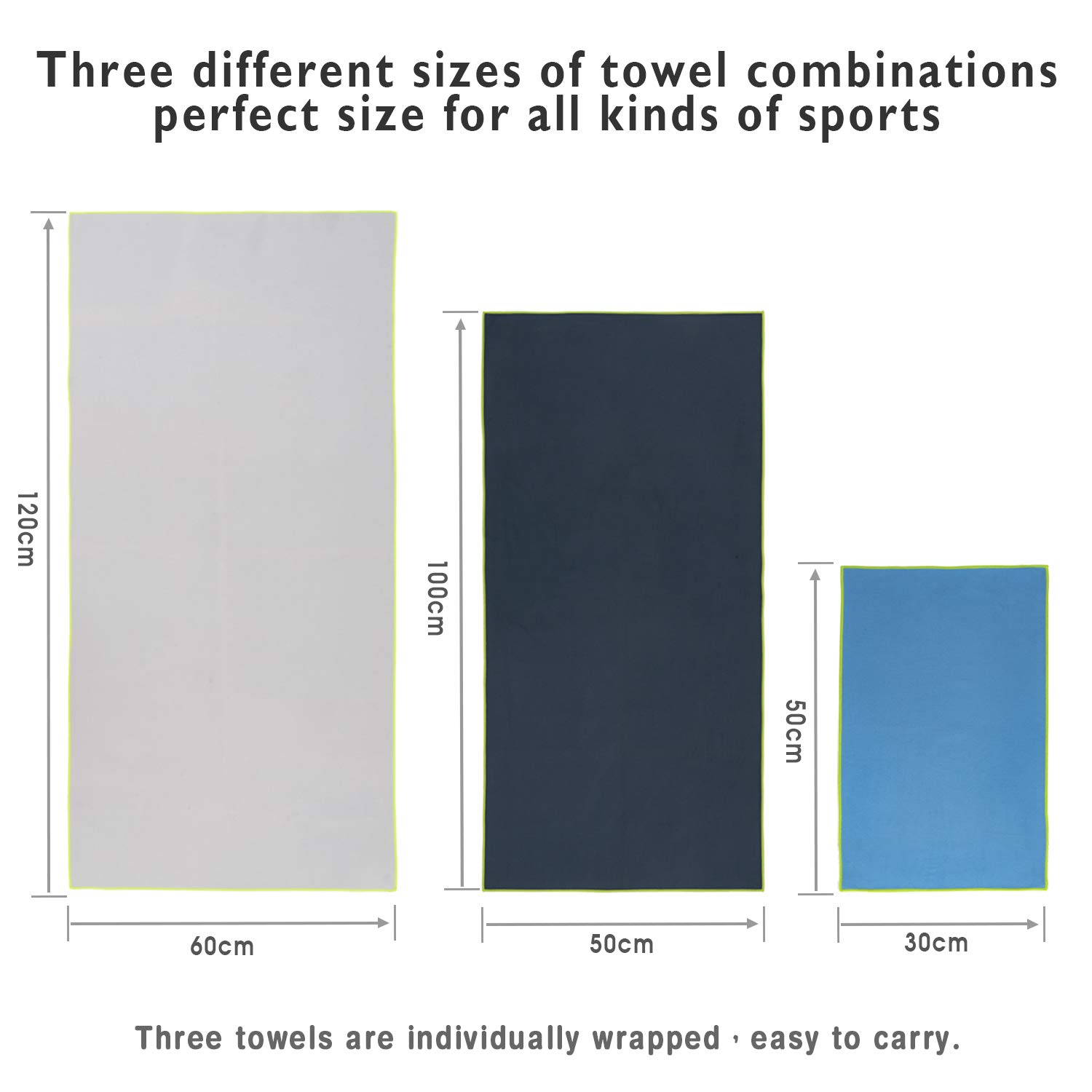 HBselect 3 Pack Microfibre Towel Set,Quick Dry Lightweight Sport Towels for Gym Swimming Yoga Camping Travel Large 60 * 120cm Grey,M 50 * 100cm Dark Blue, S 30 * 50cm Light Blue Hiking Beach