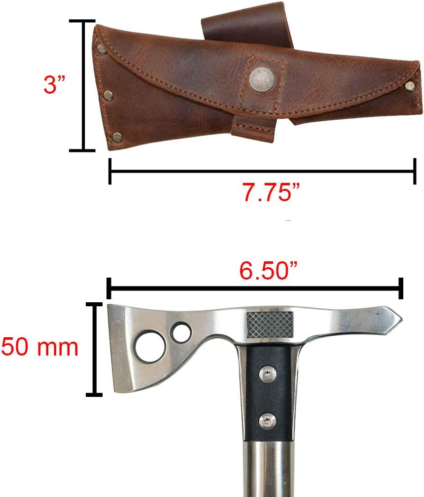 Leather Riveted Tomahawk Sheath//Axe//Case//Holder//Outdoors//Adventure//Camping Bourbon Brown Handmade Includes 101 Year Warranty Hide /& Drink