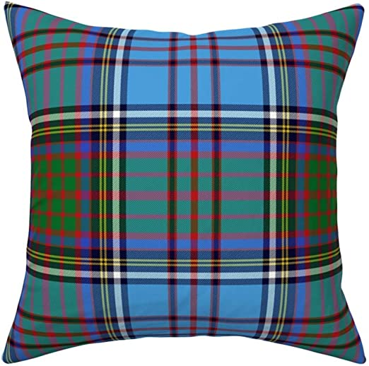 Blue Green Red Yellow Tartan Throw Pillow Cover w Optional Insert by Roostery