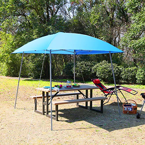 PHI VILLA Pop-up Slant Leg Canopy Tent, Lightweight for Camping, Beach and Sports – 8 x 8 , Blue