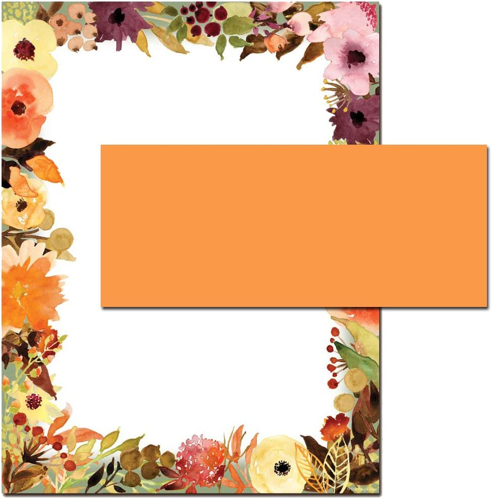 Amazon Com Fall Floral Letterhead With Coordinating Envelopes